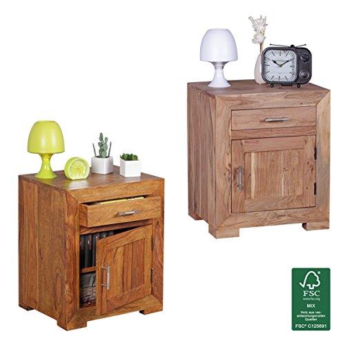 FineBuy Nachttisch Massivholz Nachtkommode 60 cm hoch 50 cm breit mit Schublade und Tür Nachtschrank für Boxspringbett