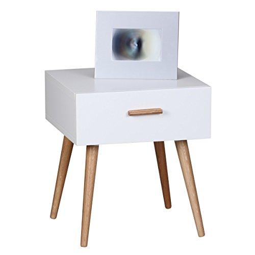 FineBuy Design Retro Nachttisch SKANDI 40 x 46 x 42 cm weiß Matt mit Schublade   Nachtkonsole im skandinavischen Retro Look   Nachtkommode Beine und Griff Holz   Nachtschrank Nordisch