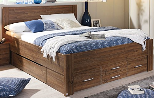 Rauch Bett mit 6 Schubkästen Eiche Stirling 180 x 200 cm Schubladenbett Funktionsbett