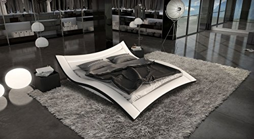 SEDUCCE Doppelbett/Lederbett weiss/schwarz, 160 x 200