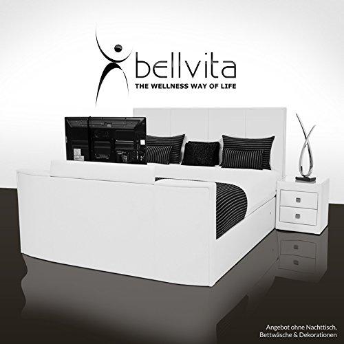 bellvita Luxus WASSERBETT mit Echtleder-Bettrahmen und versenkbarem Flat-TV inkl. Lieferung und Aufbau durch Fachpersonal, 200cm x 220cm
