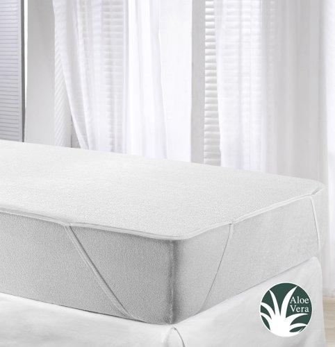 Velfont Wasserdichte und Atmungsaktive Aloe Vera Matratzenschoner Matratzenauflage; 4 Gummibände