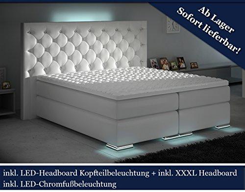 XXXL Boxspringbett Designer Boxspring Bett LED Weiss Chesterfield