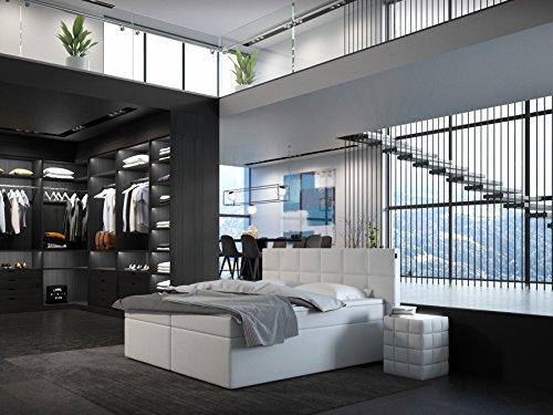 SAM® Design Boxspringbett Miosono ECO, Kunstlederbezug in weiß, Box mit Nosag-Unterfederung, zwei 90 cm Bonellfederkern-Matratzen, Doppelbett 180 x 200 cm