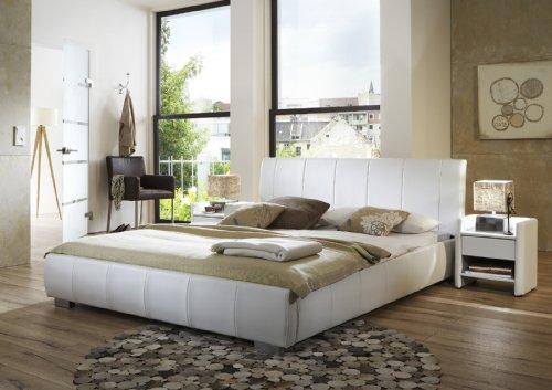 SAM® Lumo Polsterbett in 5 verschiedenen Größen, in weiß oder schwarz, Bett mit gepolstertem Kopfteil im abgestepptem Design und pflegeleichter Oberfläche, Bettgestell auch als Wasserbett verwendbar