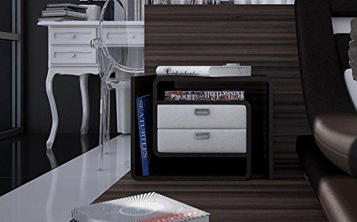 SAM® Nachtkommode Konsole In-03 links in schwarz / weiß modernes Design mit 2 x Schublade Stauraum Oberfläche pflegeleicht