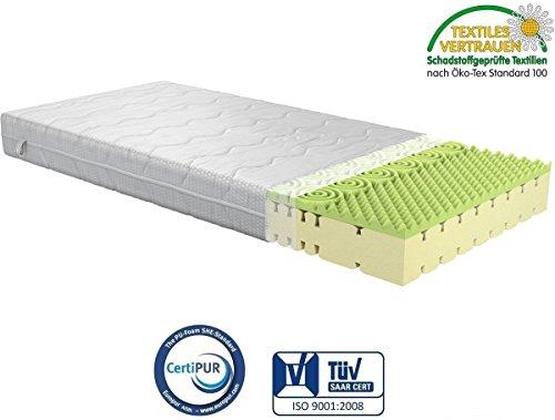Fairmat Matratze Classic orthopädische Matratze Komfortschaummatratze | Visco Beschichtung | 3D-Würfelschnitt | 7 Zonen | Doppeltuch Bezug | Höhe 23cm | Härtegrad H3 | Größe 140x200cm
