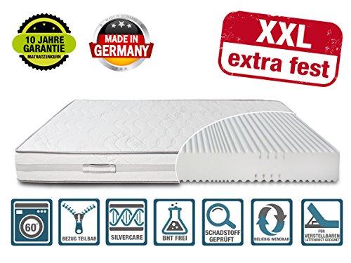 DIREKT VOM HERSTELLER - MADE IN GERMANY Matratze XXL Härtegrad 4 (H4) bis 150kg Höhe 23cm | extra hart | mit SilverCare Borderbezug| Klimaband für beste Belüftung | hochwertig (140 x 200 cm)