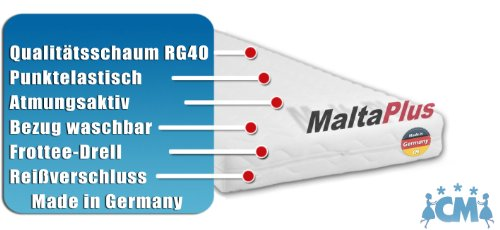 M.K.F. Kindermatratze MALTA PLUS. Hochwertige Matratze für Kinderbett 90 x 190 cm. Atmungsaktive Schaumstoffmatratze mit Frotteebezug 90x190 cm