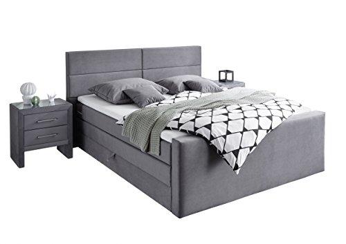 Stellwerk Furniture 1652 Premium Boxspringbett 180x200-cm Bettkasten Stauraum H2-H3 Stoff Grau 7-Zonen Taschenfederkern-Matratze Kaltschaum-Topper Polsterbett Doppel-Bett Nachtschränke