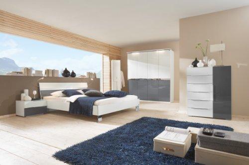Dreams4Home Schlafzimmerkombination 'Kyra', Schrank, Bett, 2 x Nachtschrank, Kommode, Schlafzimmer komplett, weiß / grau, Liegefläche:160x200 cm