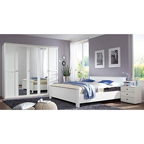 Schlafzimmer komplett Set weiß Bett Kleiderschrank Nachtschrank Kommode