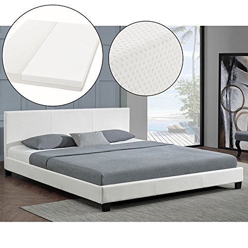 "Polsterbett ""Barcelona"" - 140 x 200 cm - weiß mit Lattenrost & Kaltschaummatratze"