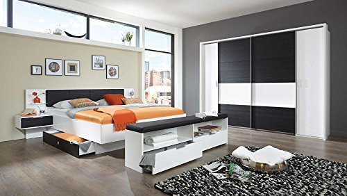 lifestyle4living Schlafzimmer, Schlafzimmermöbel, Set Komplett, Komplettset, Schlafzimmereinrichtung, Komplettangebot, Einrichtung, alpinweiß, Schwarzeiche-NB.