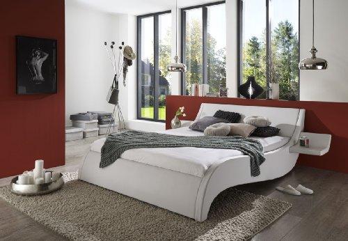 SAM® Polsterbett 140x200 cm Murcia, weiß, Bett mit gepolstertem Kopfteil, modernes Design