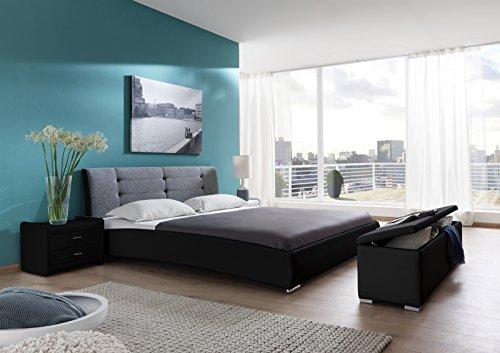 SAM Design Polsterbett Bastia 90x200 cm, schwarz-grau, Kopfteil abgesteppt, Chromfüße, als Wasserbett verwendbar