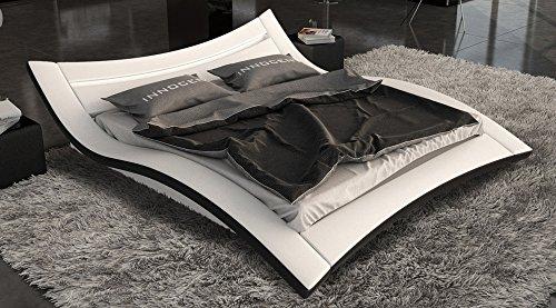 SAM® Polster Bett Salina LED 140 x 200 cm in weiß schwarz außergewöhnliches Designbett geschwungene Seite Lichtleiste am Kopfteil
