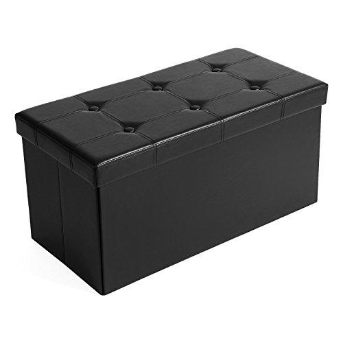 SONGMICS Sitzhocker Sitzbank mit Stauraum faltbar 2-Sitzer belastbar bis 300 kg kunstleder schwarz 76 x 38 x 38 cm LSF105