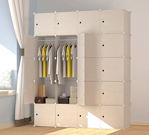 PREMAG Wood Pattern Portable Garderobe für hängende Kleidung, Kombischrank, modulare Schrank für platzsparende, ideale Storage Organizer Cube für Bücher, Spielzeug, Handtücher(20-Würfel)