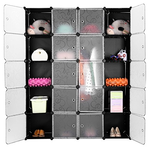 LANGRIA Regalsystem Stufenregal 20-Kubus Lagerregal Kleiderschrank Garderobe für Kleidung, Schuhe und Spielzeug (Schwarz und Transluzenten)