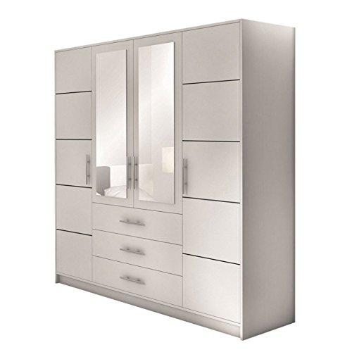 Drehtürenschrank Bado 4D, Kleiderschrank mit Spiegel, Schubladen und Spiegeltüren, Elegantes Schlafzimmer schrank, Jugendzimmer (Weiß)