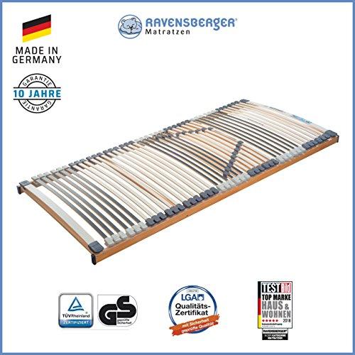 Ravensberger Matratzen Medimed® Lattenrost | 7-Zonen-Buche-Lattenrahmen | 44 Leisten| starr| MADE IN GERMANY - 10 JAHRE GARANTIE | TÜV/GS 90x200 cm