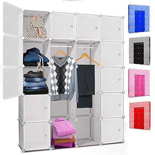 Kesser® DIY Kleiderschrank Schrank Steckregal ✓ Schuhschrank ✓ Regalsystem ✓ Garderobe   Belastbar   Größe: 20 Boxen / 1000 Liter   Farbe: Weiß