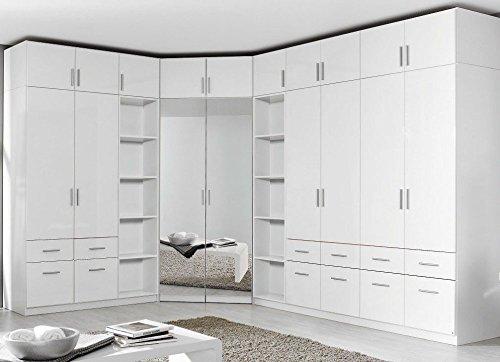 Rauch Eck-Kleiderschrank mit Aufsatz Celle/Korpus: Weiß, Fronten: Weiss-Hochglanz