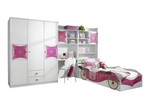 Rauch Kinderzimmer Jugendzimmer Weiß-Rosa, 4-teilig, Stellmaß BxHxT 326x199x238 cm
