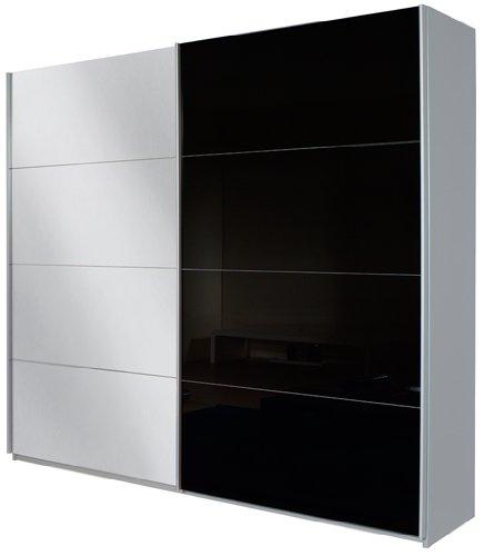 Rauch Schwebetürenschrank mit Spiegel 2-türig , Glaspaneele Schwarz, Korpus Grau Metallic Nachbildung, BxHxT 181x210x62 cm