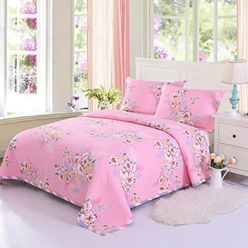 Young17 Bettwäsche-Sets 100% Baumwolle dreiteilig (1 Bettdecke & 2 Kissenbezüge), gesteppt Bettdecke Schlafzimmer-Sets/Patchwork Quilt 3 PCS