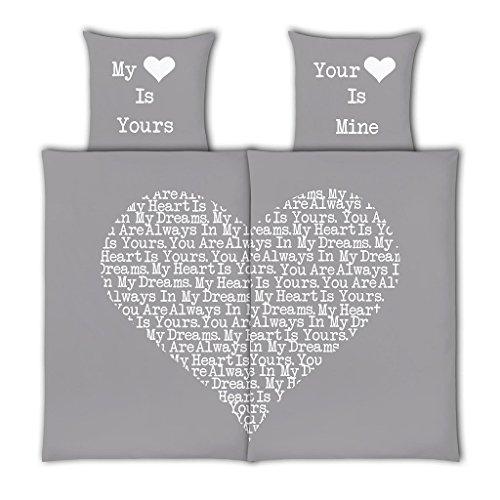 VS Home Partner-Bettwäsche Heart Herz Valentinstag / 100% Baumwolle / 4-teilig / 135cm x 200 cm / in verschiedenen Farben erhältlich