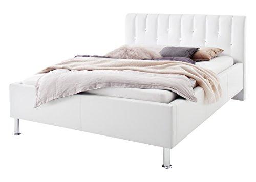 sette notti Polsterbett Bett 140x200 Weiß, Bett mit Strasssteinen, Bett mit echten Swarovski Steinen, Kunstleder- Bett mit Liegefläche 140x200 cm, Rapido