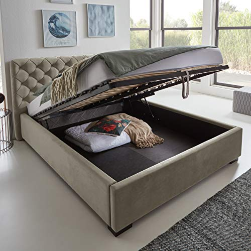 Designer Bett mit Bettkasten ELSA Samt-Stoff Polsterbett Lattenrost Doppelbett Stauraum Holzfuß schwarz