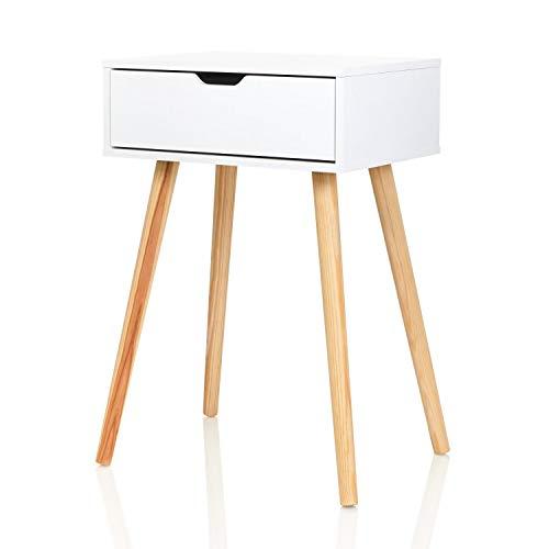 Furniture For Friends Möbelfreude Nachtkonsole Tjark Nachttisch mit Schublade   weiß mit Holzfüßen   40 x 30 x 60 cm