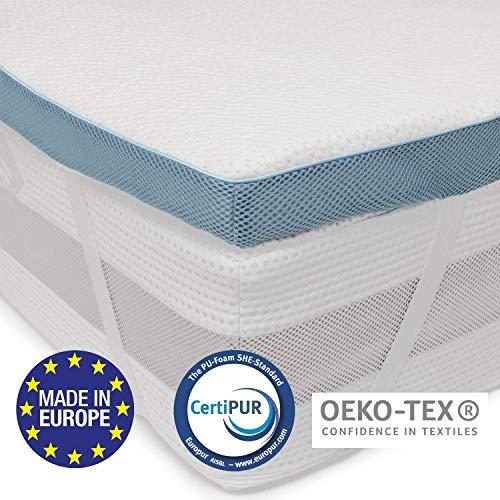 Dreamzie Topper Orthopädische Matratzenauflage in Europa hergestellt und Oeko TEX Zertifiziert - rutschfeste Unterseite, 4 Eckbänder - Bezug aus Bambusviskose mit Reißverschluss