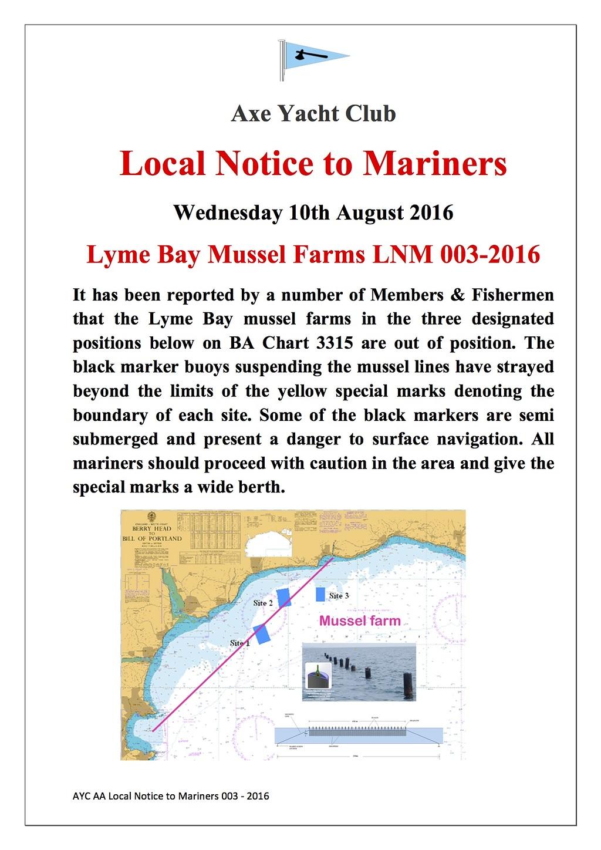 Axe Yacht Club AYC LNM 0032016 Lyme Bay Mussel Farms