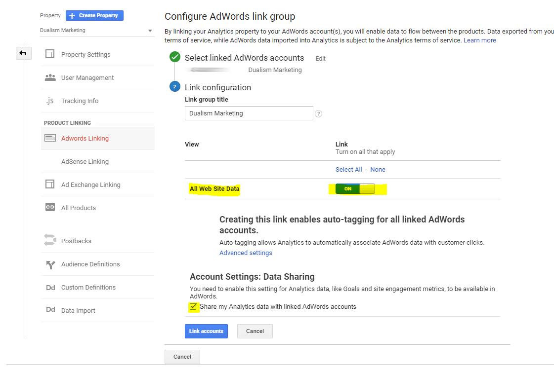 Link Google Adwords with Google Analytics 5