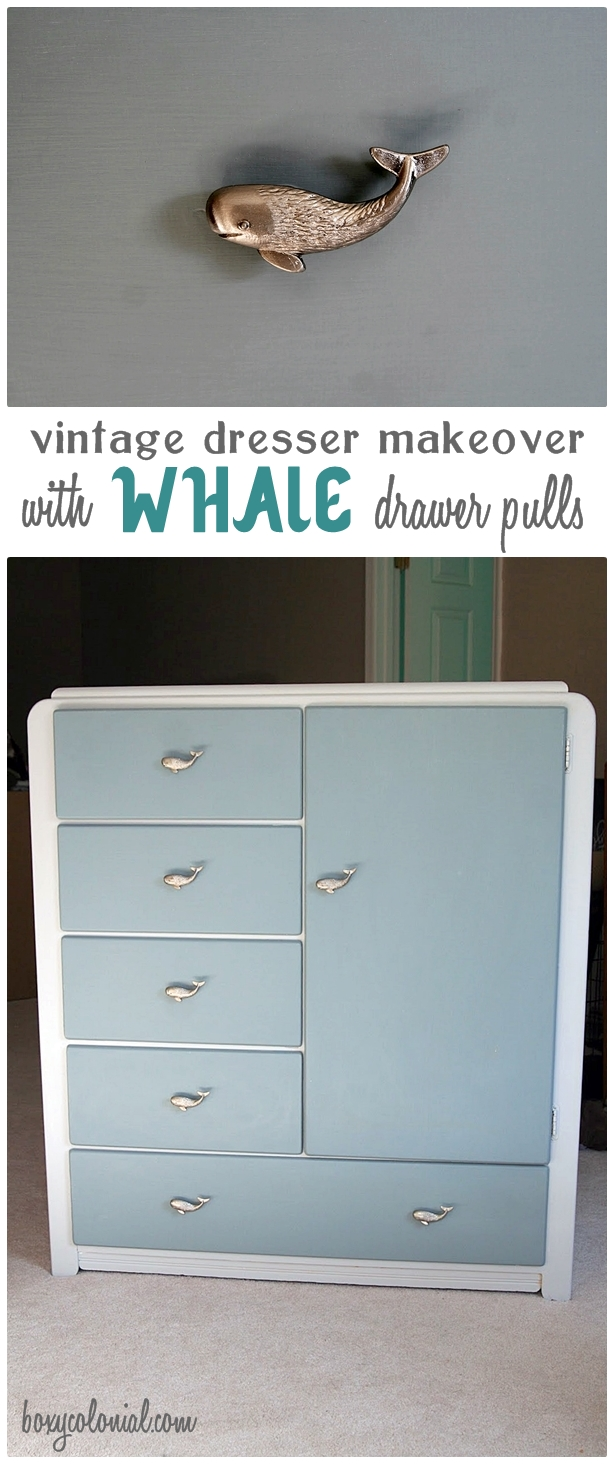 Nursery dresser with whale pulls