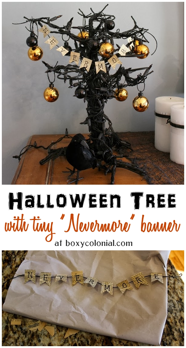 """Tutorial to make a tiny """"Nevermore"""" banner out of book pages #TheRaven #Halloween"""