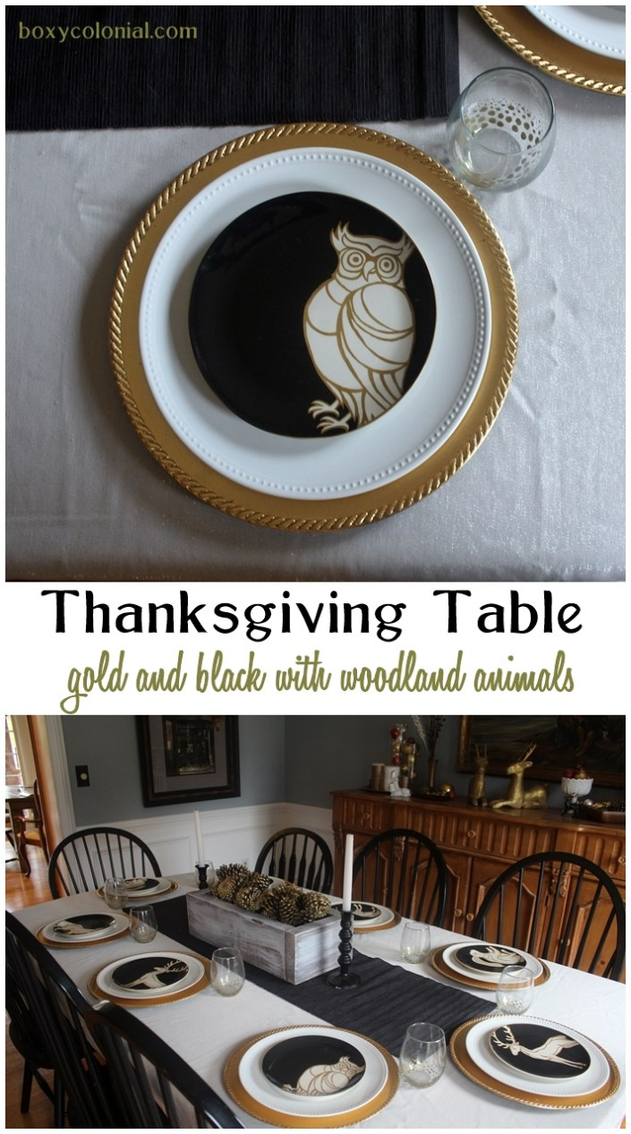 Gold and black Thanksgiving table with woodland animals