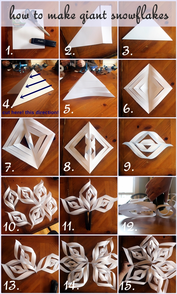 How to Make Giant Paper Snowflakes: Step by Step Photo Tutorial -