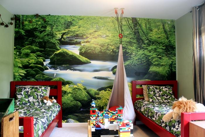 red beds in boys' bedroom