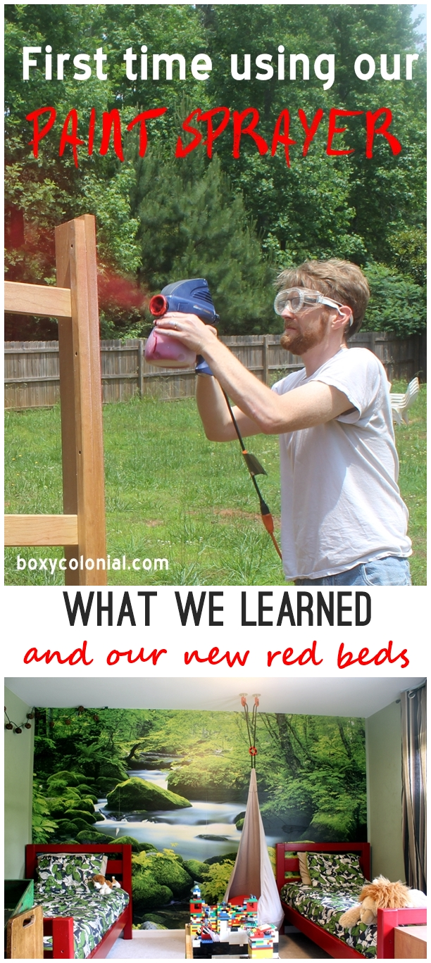Using a Paint Sprayer for the first time to paint wooden beds for a kids' room
