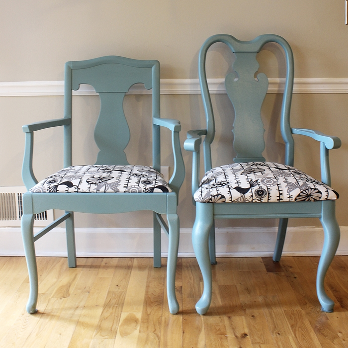 painting and re-upholstering our mismatched kitchen chairs..at