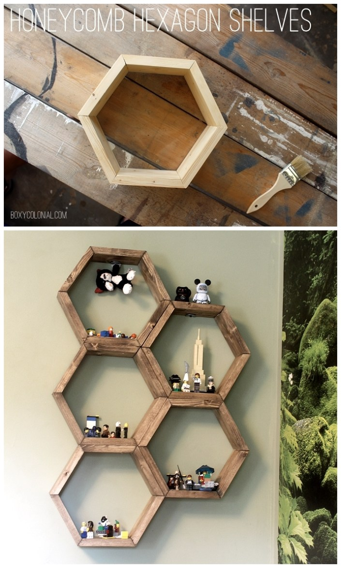 sticks charm to honeycomb wall popsicle diy this your add some with century part bookshelf easy idea hexagon stick mid shelf art i gallery