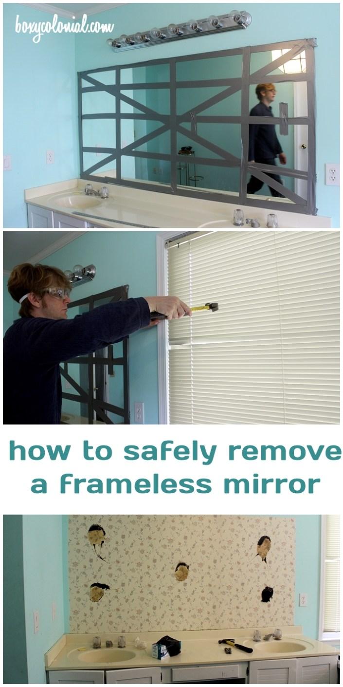 how to safely remove a frameless, builder-grade mirror