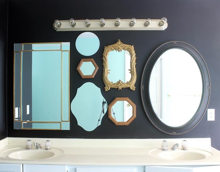 mirror gallery wall master bathroom