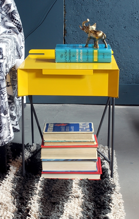 yellow end table from sauder