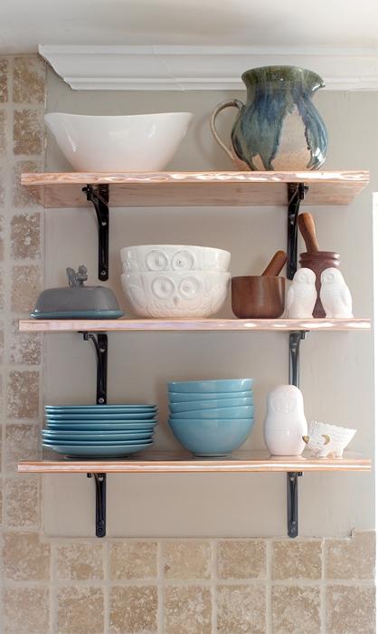 diy copper shelves for the kitchen